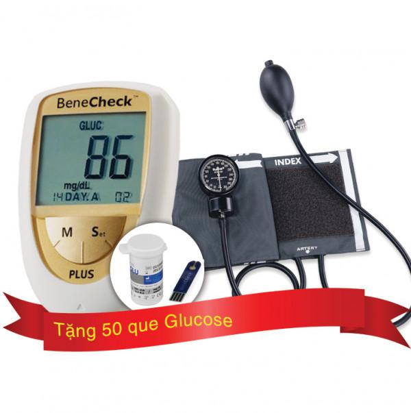 Máy đo huyết áp cơ Spirit CK-110 tặng Máy đo đường huyết, mỡ máu, gút BeneCheck và 50 que