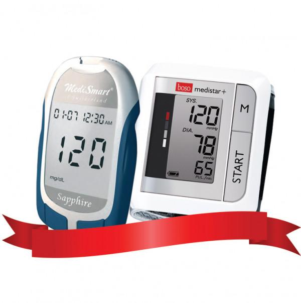 Combo Máy đo đường huyết Sapphire - Máy đo huyết áp cổ tay tự động Medistar Plus