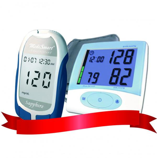 Combo Máy Đo Đường Huyết Sapphire Plus - Máy đo huyết áp KP-6925