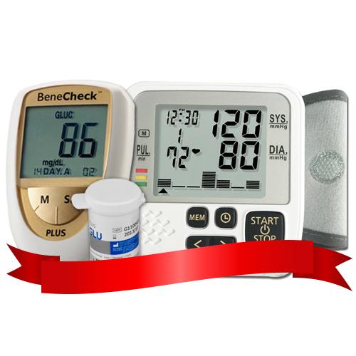 Combo Máy đo đường huyết Benecheck Plus - Máy đo huyết áp DK39+