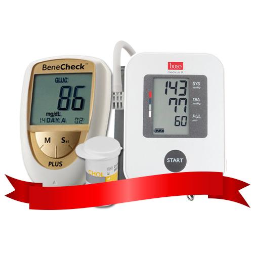 Combo Máy đo cholesterol Benecheck Plus - Máy đo huyết áp bắp tay Boso Medicus X