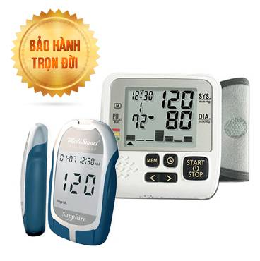 Máy đo huyết áp cổ tay MediKare-DK39 Plus + Máy Đo Đường Huyết Sapphire Plus