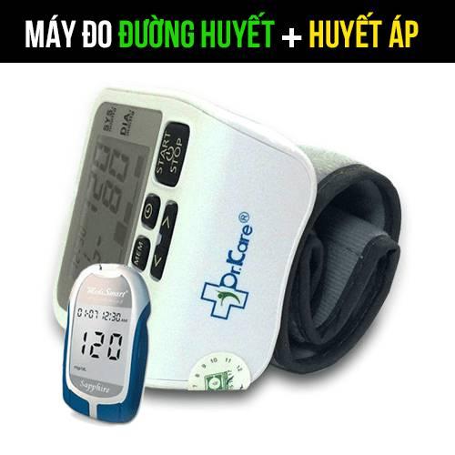 Combo Máy đo đường huyết Sapphire Plus - Máy đo huyết áp MediKare-DK39+