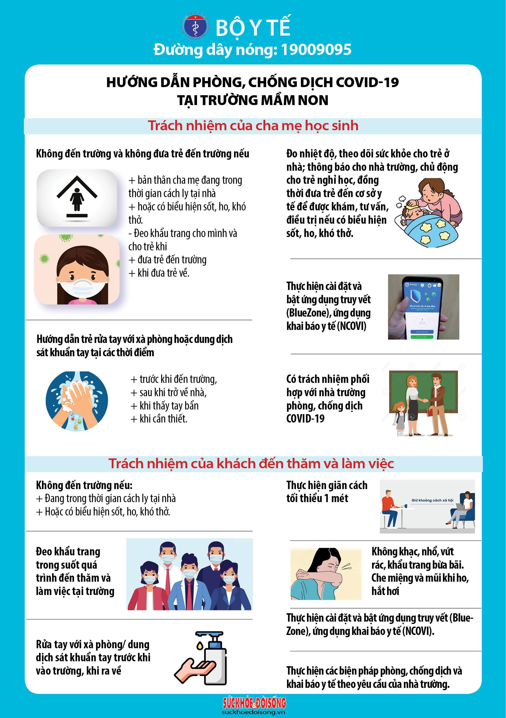 Sổ tay phòng chống dịch Covid-19 tại trường học theo hướng dẫn của Bộ Y tế