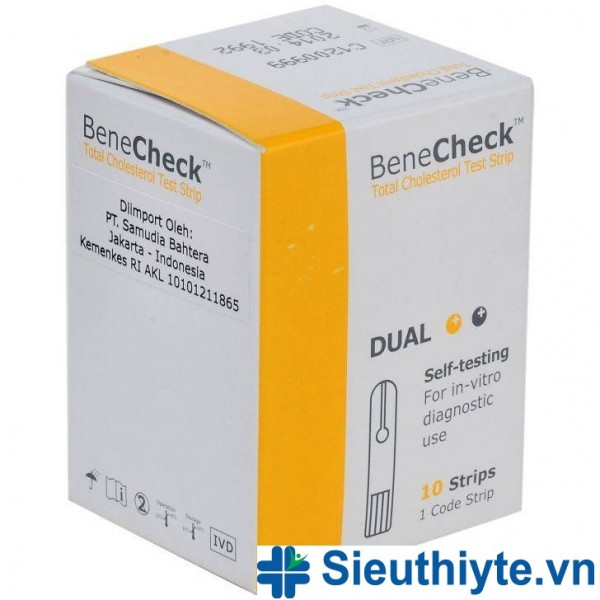 Que thử Cholesterol máy đo Benecheck 3in1 (10 que)