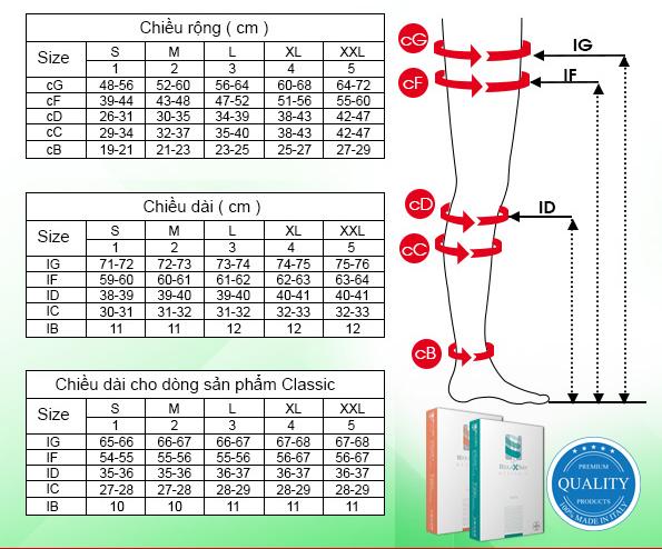 Vớ y khoa điều trị suy tĩnh mạch, dạng gối, bít ngón Class II - Cotton - Art.M2050