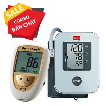 Combo Máy đo đường huyết Benecheck 3in1 - Máy đo huyết áp bắp tay Boso Medicus X