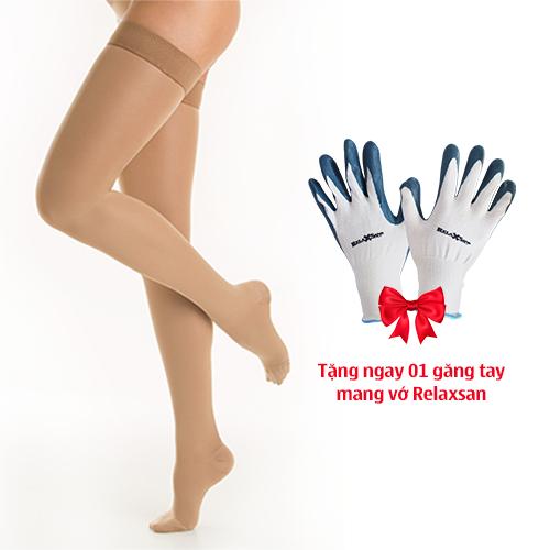 Vớ y khoa điều trị suy tĩnh mạch, dạng đùi, bít ngón Class II - Cotton - Art.M2070