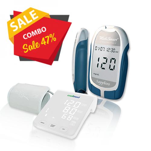 Combo Máy đo đường huyết Sapphire Plus & Máy đo huyết áp Wellmed FDBP-A4