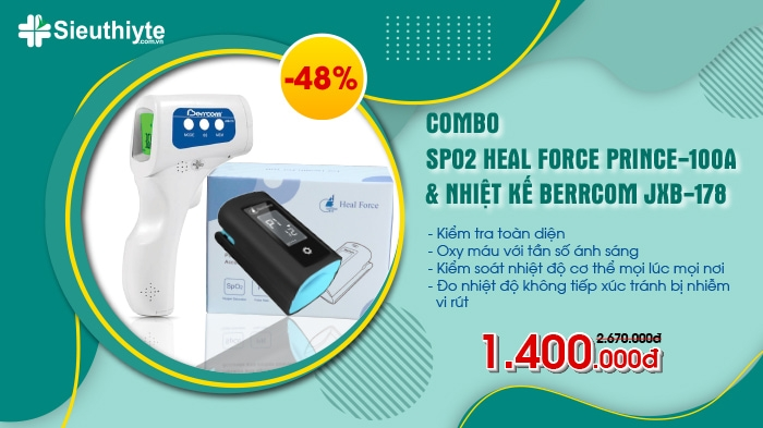 Combo Nhiệt kế Berrcom JXB-178 & Máy đo SpO2 Heal Force Prince-100A